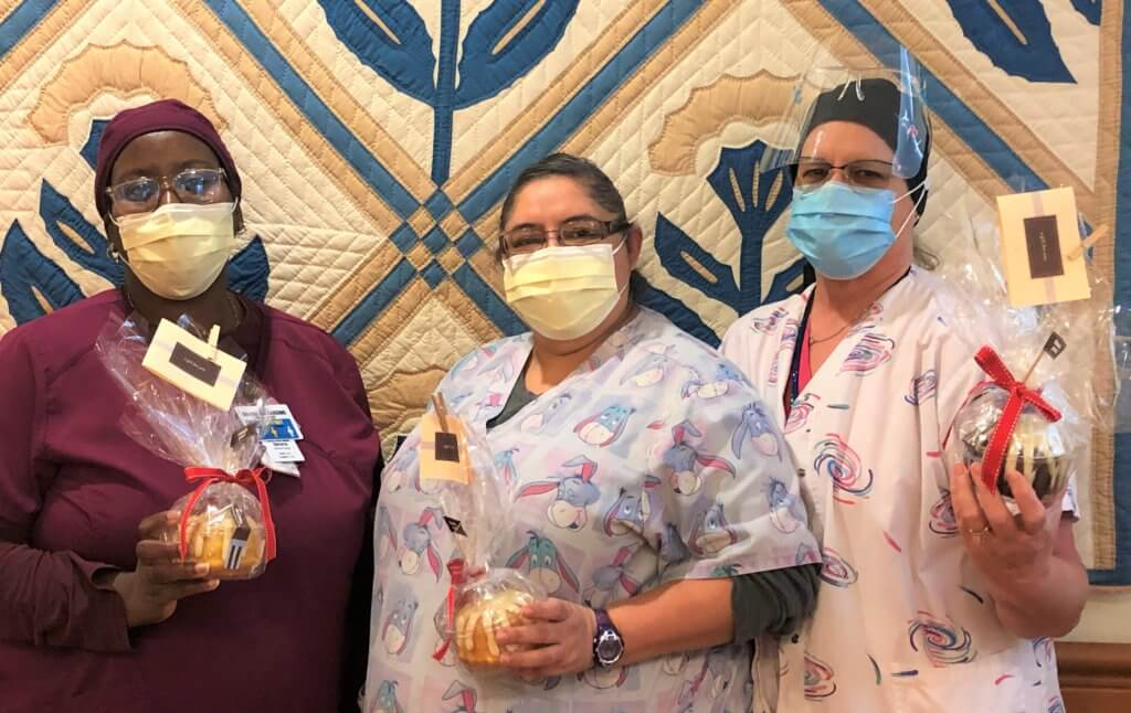 Houston Hospices Nurses and Staff Receive Mini-Bundt Cake from the Lyssy Family in honor of the passing of Karen Lyssy.